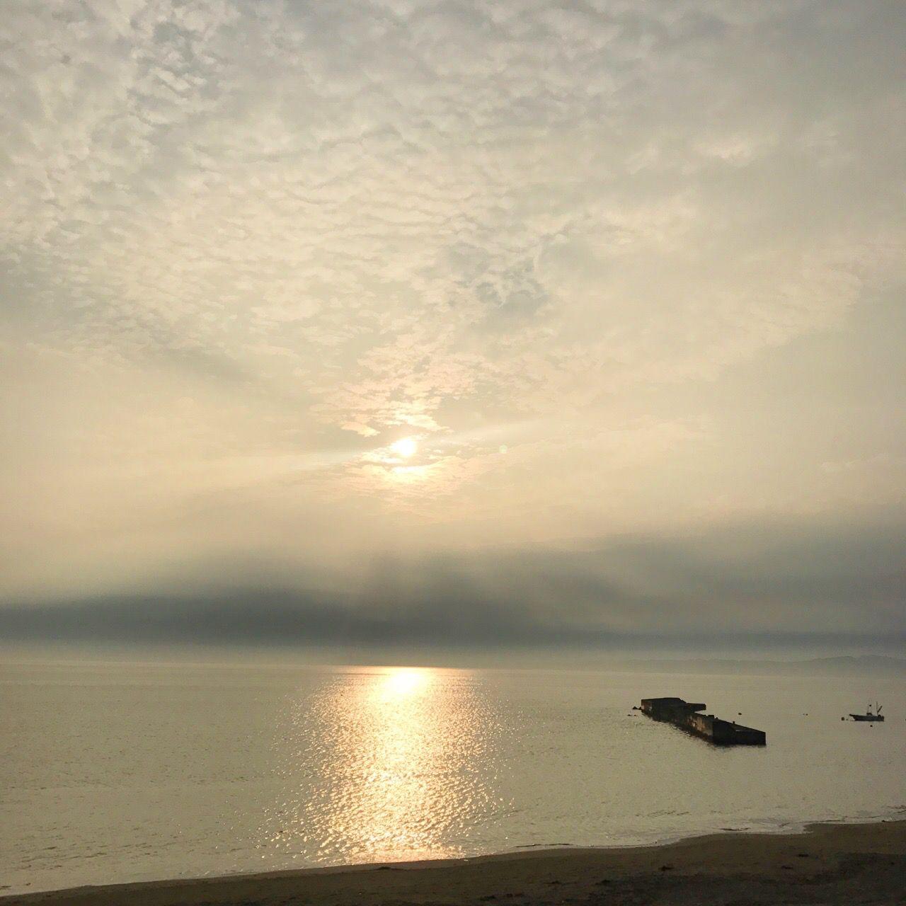 海で見る夕日♡