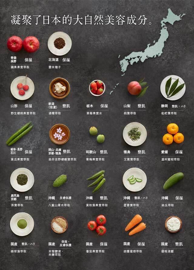 肌純使用日本國內的53種大自然的美容成分